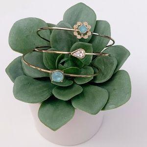LC Lauren Conrad Gold and Blue Trio Bracelet Set
